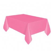 Hot Pink Table Cloth - Plastic 9ft Tablecover 1pc
